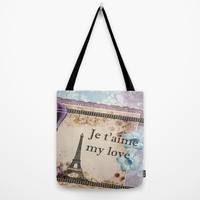Vintage Paris Je t'aime Tote Bag by MNA Art | Society6
