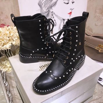 JIMMY CHOO Hanah Flat  Black Smooth Leather Booties with Pearl Detailing