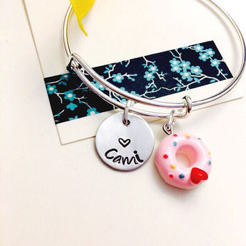 Child Adjustable Bangle Bracelet, Name Bracelet, Donut Jewelry ,Personalized Bracelet, Little Girls Charm Bracelet, Young Girl