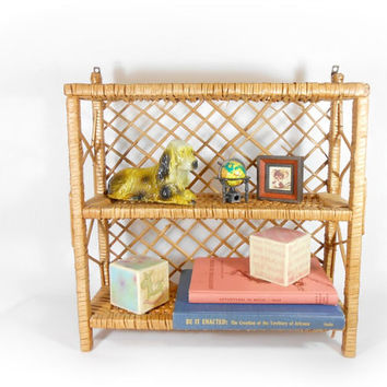 Wicker Shelf Wall Hanging Wood Rattan Shelving Wall Decor Storage