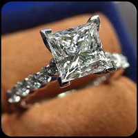 A Perfect 3CT Princess Cut Russian Lab Engagement Promise Wedding Anniversary Ring