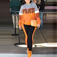 Victoria's Secret Pink Popular Women Sport Print Hoodie Sweater Trousers Two-Piece Set Sportswear Orange