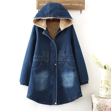 Trendy Winter Jacket Women Plus Velvet Thick Denim Jacket Hooded Women Basic Coats Cotton Jacket Female Parka Vintage Denim Coats C4980 AT_94_13