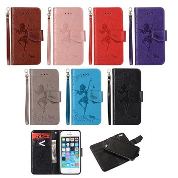 Luxury Leather Embossed Wallet Phone Case For iPhone 5 5s SE Cover Dancing Girl Flip Removable Adsorption Mobile Phone Shell