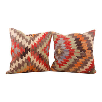 SET OF TWO  20x20 Kilim Pillow, Made From Diamond Rug, Turkish Pillow, ZigZag Pattern, Floor Pillow, Special Design, Fireplace Cushion