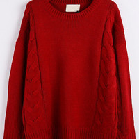 Red Knit Long Sleeve Sweater