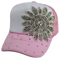 * Crystal Bling Bling Rhinestone with Studs Truck Hat In Pink