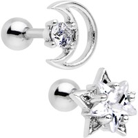 "16 Gauge 1/4"" Clear CZ Gem Moon and Star Tragus Cartilage Earring Set"