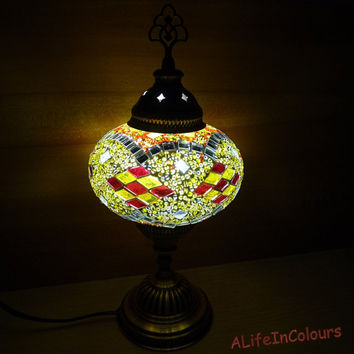 Decorative Turkish handmade colourful authentic glass mosaic table lamp, bedside lamp, bedroom night lamp.