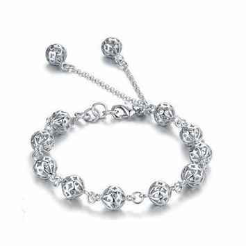 New 925 Silver Hollow Ball Chain Elegant Bracelet Bangle Lady Women Jewelry SL03