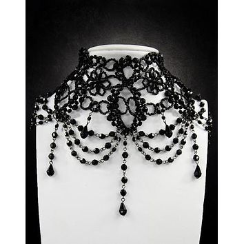 Restyle Victorian Gothic Burlesque black Beaded Chandelier Choker Necklace