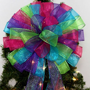 Bright Color Glitter Sparkle Christmas Tree Topper Bow