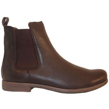 Chelsea Crew Jonas   Brown Leather Dual Gore Pull On Flat Bootie