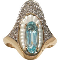 "Erte ""ALOUETTE"" Ring with Blue Topaz & Diamonds in 14k - Glorious!"