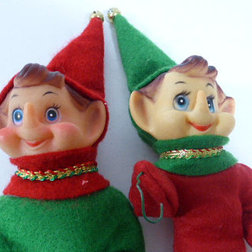 Vintage Pair of Christmas Elf, Christmas Elves - Poseable, Red and Green Christmas Outfits