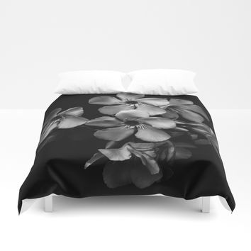 Oleander flowers in black and white Duvet Cover by VanessaGF