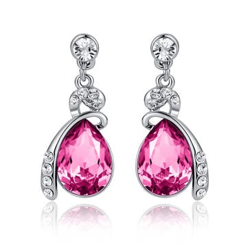 Eternal Love Teardrop Swarovski Elements Crystal Drop Earrings - Pink