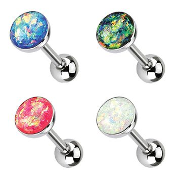 BodyJ4You Tongue Ring Barbells Pink Aqua Green Large Opal Stone Stainless Steel 14G Body Set 4PCS