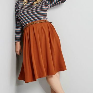 Breathtaking Tiger Lilies Midi Skirt in Pumpkin