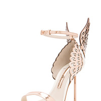 Evangeline Leather Heels in Rose Gold & White