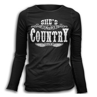 Women's She's Country Long Sleeve T-Shirt - Black