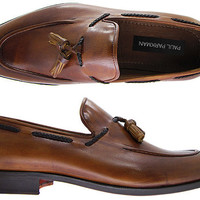 Paul Parkman Men's Tassel Loafer - Hand Burnished Brown & Tobacco Leather Upper With Natural Leather Sole