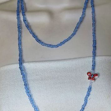 "Sky Blue Glass 46"" Strand w/ Ceramic Red, White, & Sky Blue Butterfly Embellishment, Long Rope Necklace, Gift for Her, Mother's Day Gift"