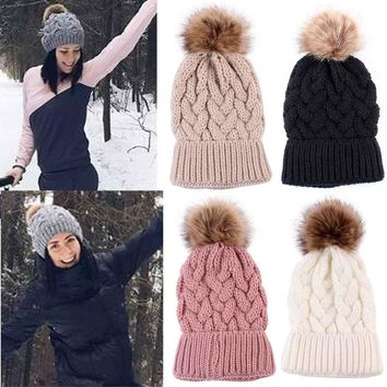Autumn Winter Women Faux Fur Pompom Hat