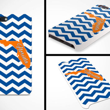iPhone 5 5s Cell Phone Case Florida Blue Orange Football Chevron Tailgate Gators Apple Personalized Protective Plastic Hard Cover VM-1026