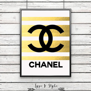 Black & Gold Striped Chanel Logo Framed Poster - Framed Digital Art - Poster Print - Home Decor - Framed Wall Art - Motivational Art - type