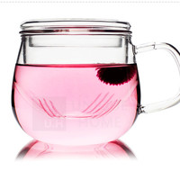 Hand Made Gift Mouth Blown Clear Glass Cup Mug with Infuser Teacup 300ml 1ea/pack - Olvera Unihom