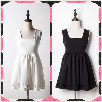 Kawaii Girls Japanese Style Cat Face Hollow Out Suspender Jumper Dress Cute Lolita Dress Color Black & White