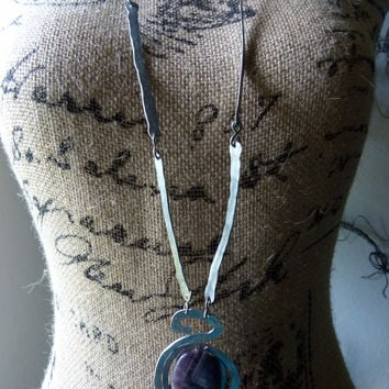 Long handmade amethyst necklace , hammered aluminum , artisan jewelry