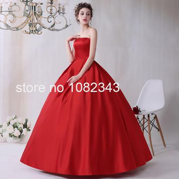 New Arrival Sexy Red Satin Strapless Sleeveless Ball Gown Wedding Dress Back Lace Up Bridal Gown