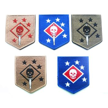 USMC/ the United States Marine Corps commando /MARINE / RAIDERS badge embroidery the tactical military patches  HOOK/LOOP