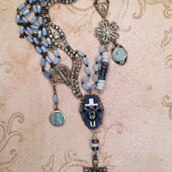 Vintage Blue Rosary Rhinestone Assemblage Statement Necklace