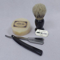 Mens Shaving Kits with Shave Soap Folding Safety Razor Knife Bristle Hair Brush