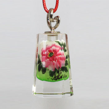 Snuff Bottle Painting Style Necklace Pendant, Reverse Inner Painting Art Glass - Wild Flowers LP06-703