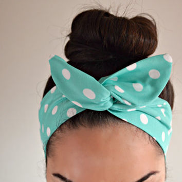 Mint Polka dot dolly bow head band, Polka dot turban