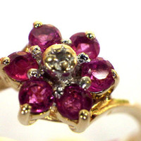 Red Ruby Flower Cluster Diamond 10K Yellow Gold Ring, Promise Ring,  Size 6.25