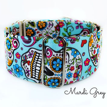 Sugar Skulls Martingale Dog Collar, Calaveras Martingale Collar, dia de los muertos, Day of Dead Collar, Gothic Collar, 2 inch martingale