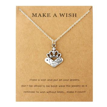 Love Queen King Crown Monkey Butterfly Pendants Necklaces Music Note Women Men Unisex Fashion Jewelry Friendship Christmas Gift