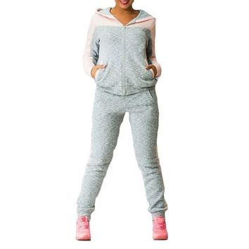 Women's Patchwork Hooded Jacket & Pants Sweatsuit