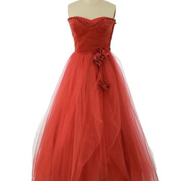 50s Strapless Red Velvet and Tulle Ball Gown
