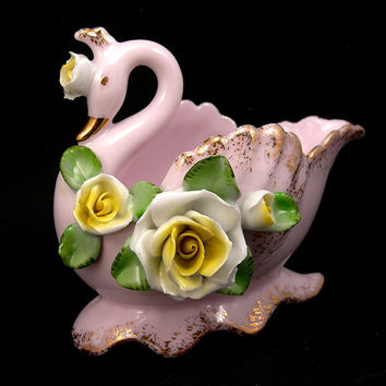 Lefton Swan Vase, Vintage Pink Swan Cachepot, Applied Roses, Cottage Chic Decor, Circa 1950, Swan Figurine