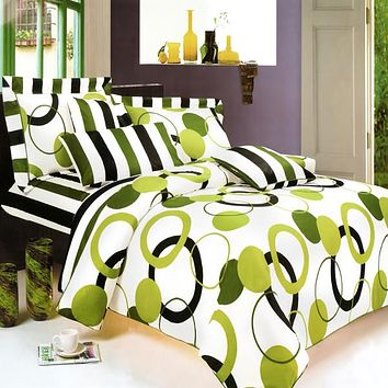 [Artistic Green] 100% Cotton 4PC Sheet Set (King Size)