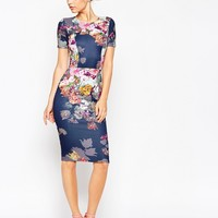 ASOS Floral Print Scuba Bodycon Dress