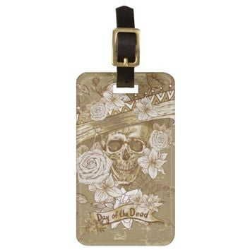 Flower Sugar Skull Luggage Tag