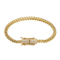 Stainless Steel 14k Gold Finish Franco Link Bracelet Designer Iced Out Lock