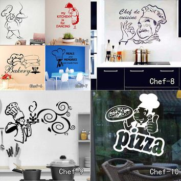 Kitchen Wall Stickers Chef De Cuisine Removable Wall Decals Vinyl Wall Art Cuisine Home Decor Vinyl Decal for Hotel and Family